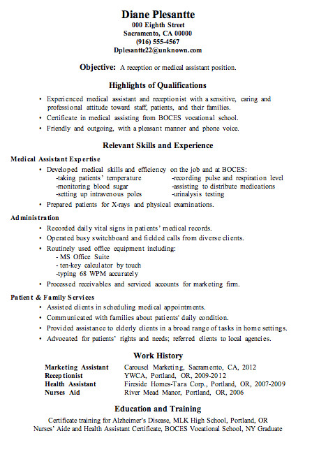 Medical assistant Resume Templates Resume Sample Receptionist or Medical assistant