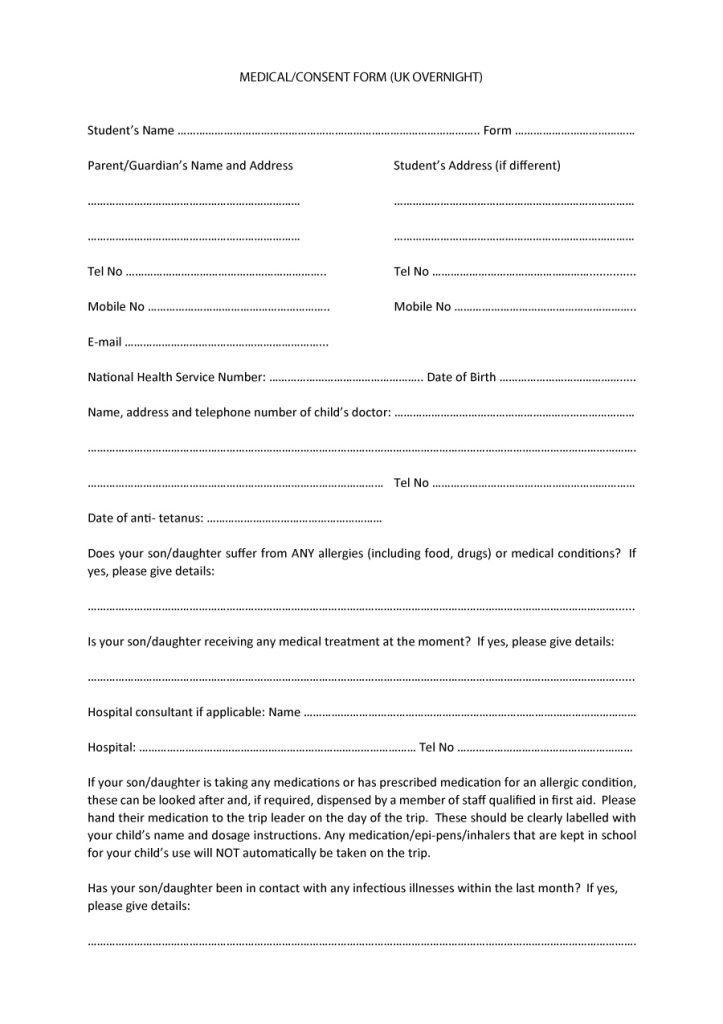 Medical Consent form Template 45 Medical Consent forms Free Printable Templates