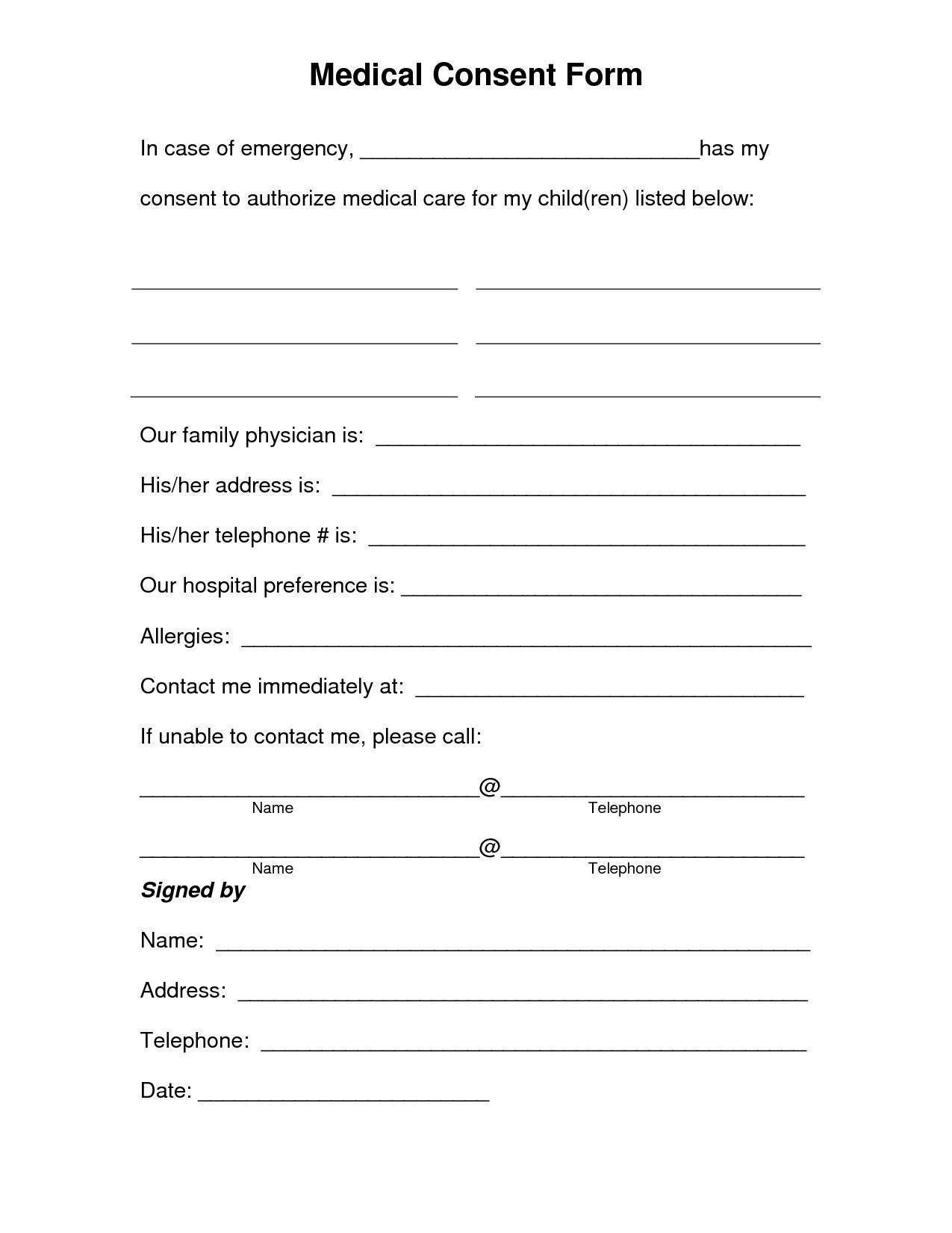 Medical Consent form Template Free Printable Medical Consent form