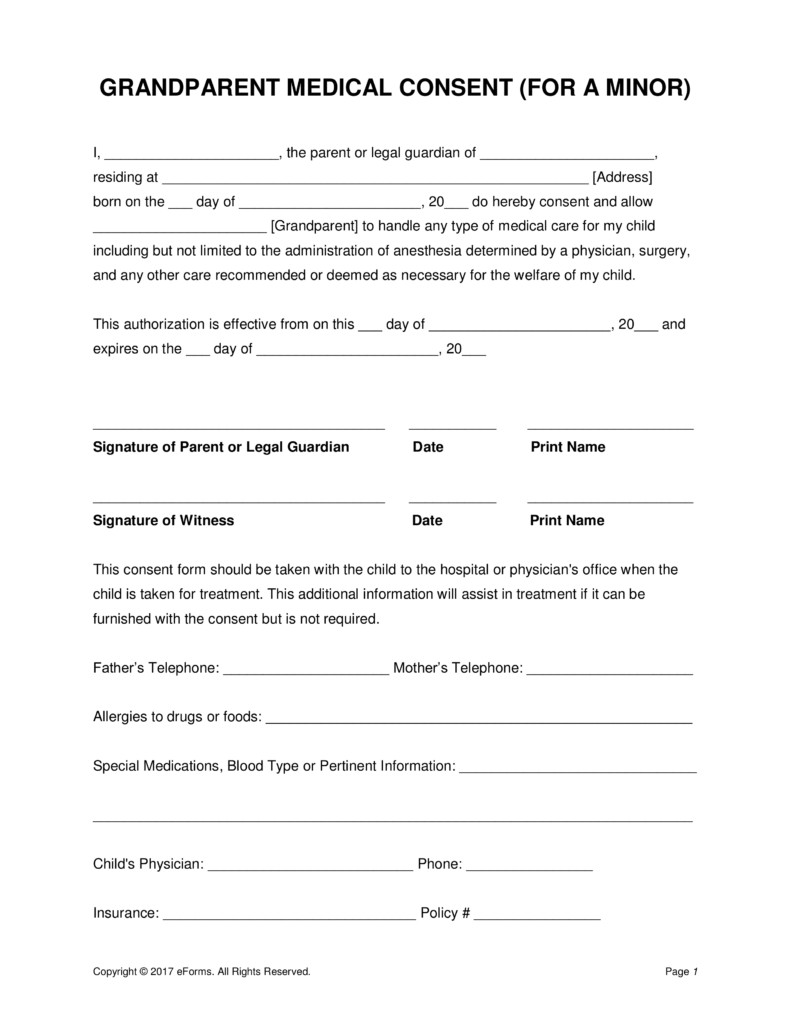 Medical Consent form Template Grandparents' Medical Consent form – Minor Child