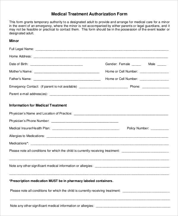 Medical Consent form Template Medical Authorization form