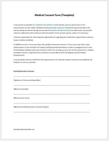 Medical Consent form Template Medical Consent form Template Ms Word
