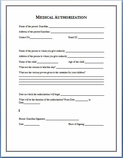 Medical Consent form Template Sample Medical Authorization form Templates