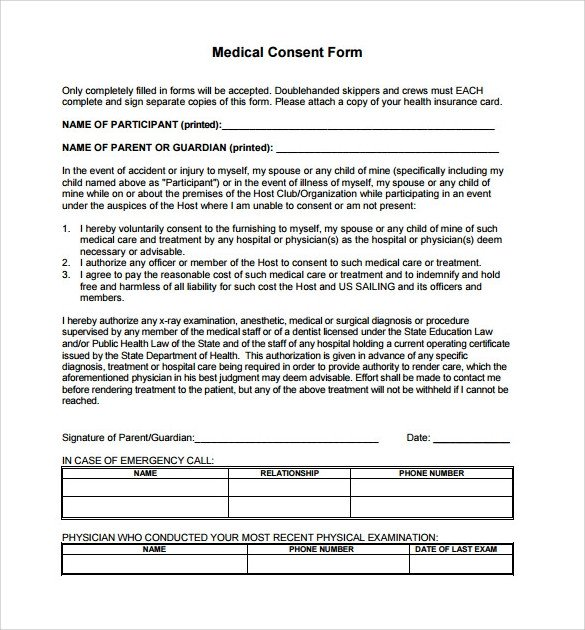 Medical Consent form Template Sample Medical Consent form 13 Free Documents In Pdf