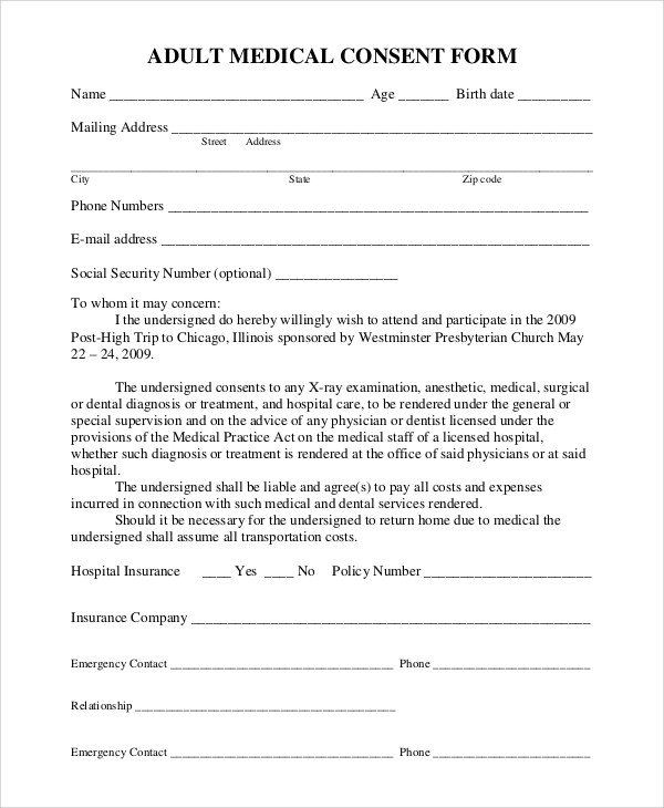 Medical Consent form Template Sample Medical Consent form 9 Examples In Pdf Word