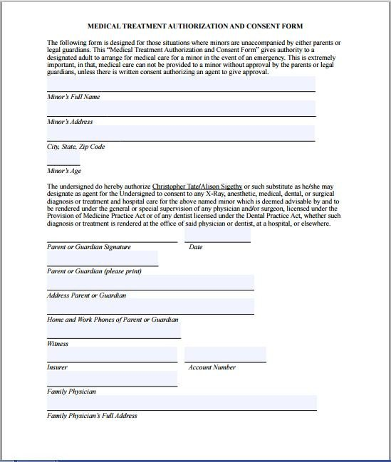 Medical Consent form Template Sample Medical Consent form