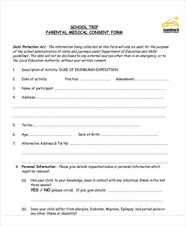 Medical Consent form Template Sample Medical form