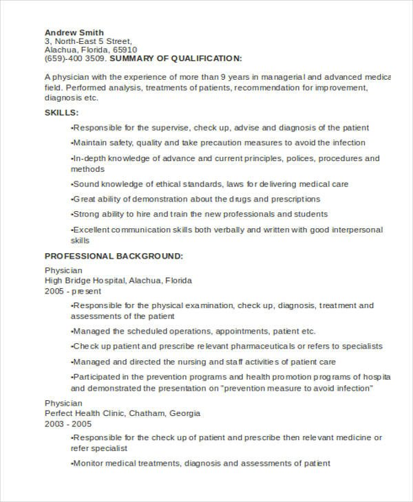 Medical Curriculum Vitae Templates 10 Sample Medical Curriculum Vitae Templates Pdf Doc