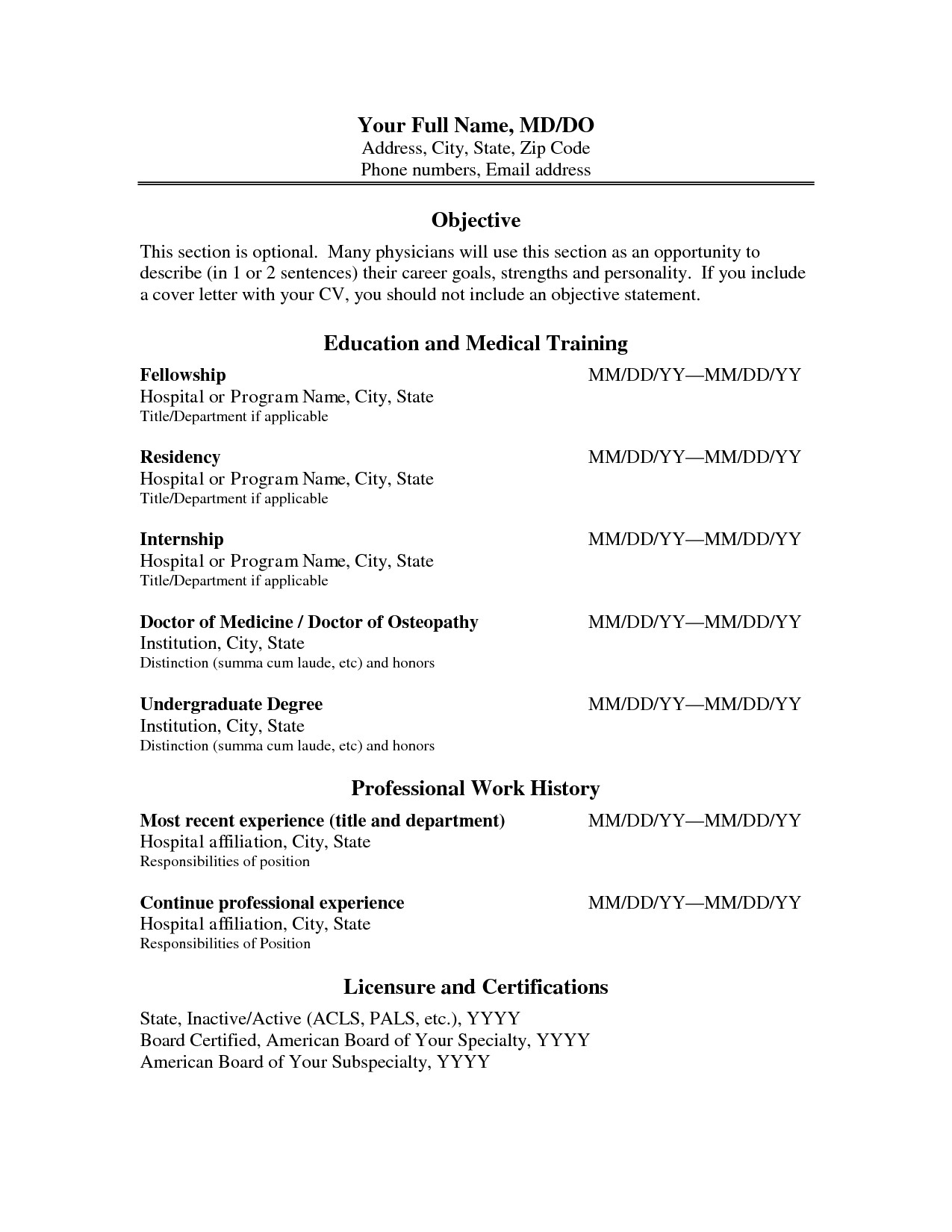 Medical Curriculum Vitae Templates Cv format Physician Physician assistant Resume and