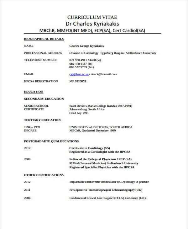 Medical Curriculum Vitae Templates Doctor Curriculum Vitae Template 9 Free Word Pdf