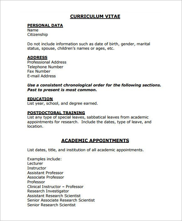 Medical Curriculum Vitae Templates Sample Medical Cv Template 7 Download Documents In Pdf