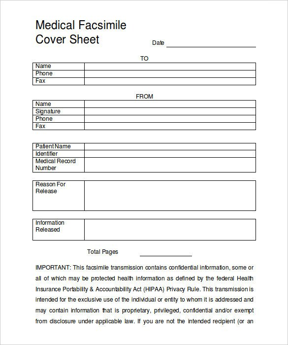 Medical Fax Cover Sheets 9 Fax Cover Sheet Templates – Free Sample Example