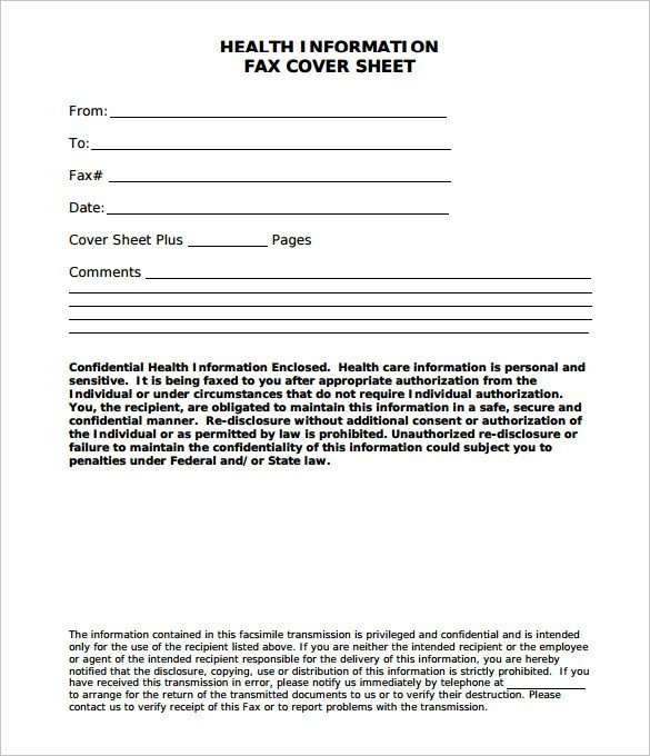 Medical Fax Cover Sheets Confidential Fax Cover Sheet