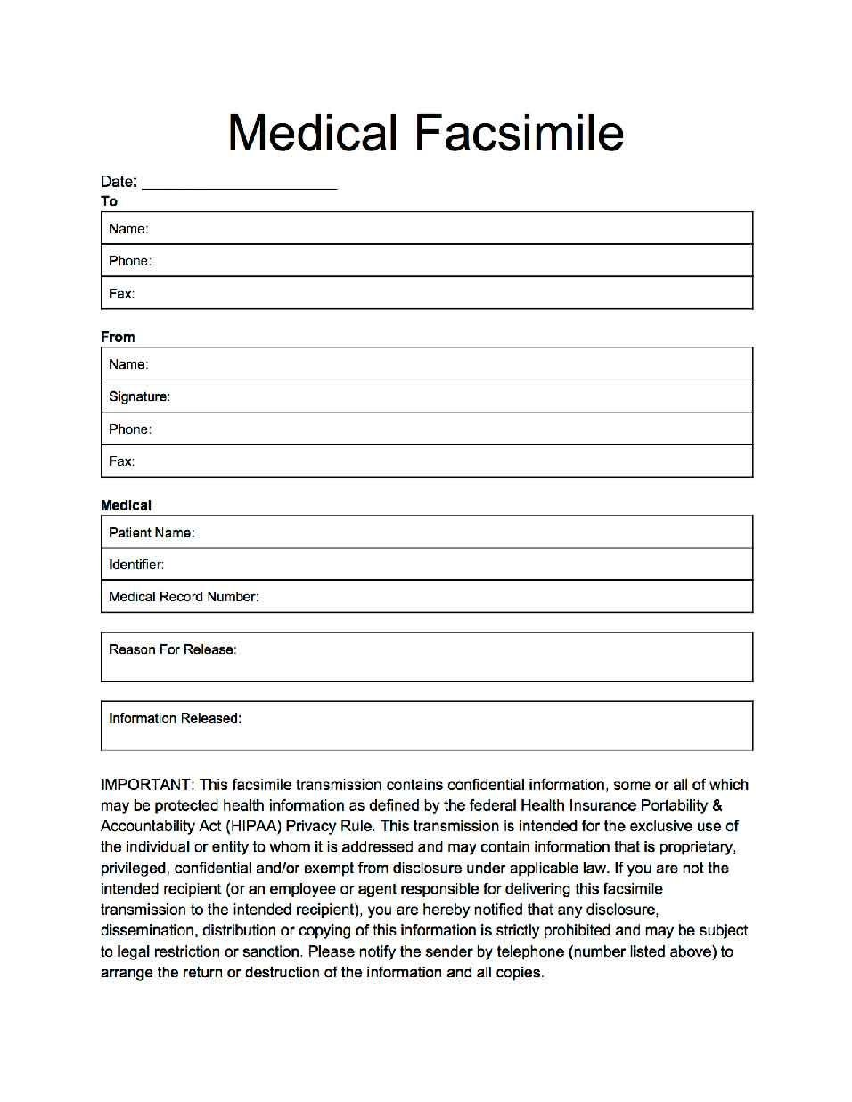 Medical Fax Cover Sheets Fax Cover for Medical Applications and Professions