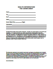 Medical Fax Cover Sheets Fax Cover Sheet Free Download Edit Fill and Print