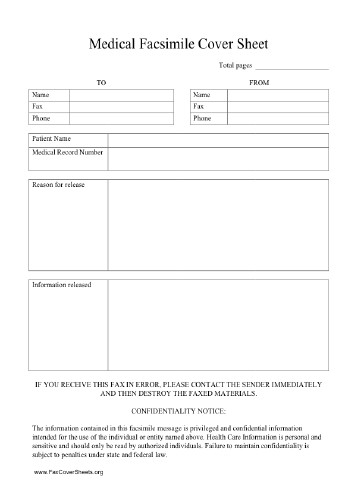 Medical Fax Cover Sheets Hipaa Fax Cover Sheet
