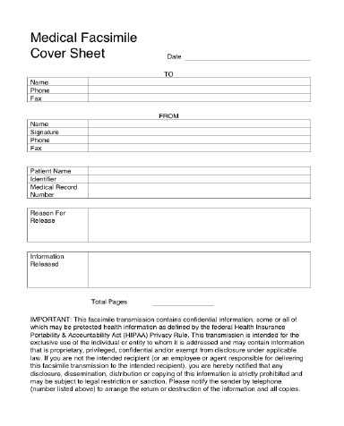 Medical Fax Cover Sheets Medical Fax Cover Sheet