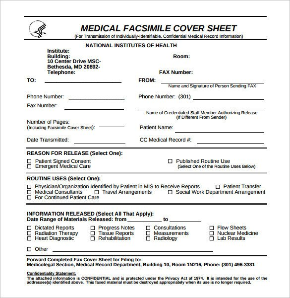 Medical Fax Cover Sheets Sample Confidential Fax Cover Sheet 12 Documents In Pdf