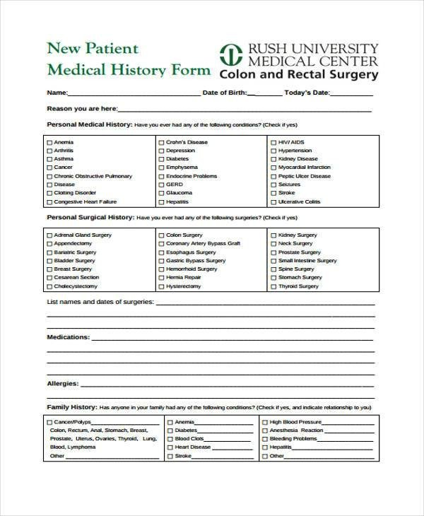 Medical History form Printable Medical form Templates