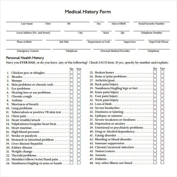 Medical History form Printable Medical History form 7 Download Free Documents In Pdf Word