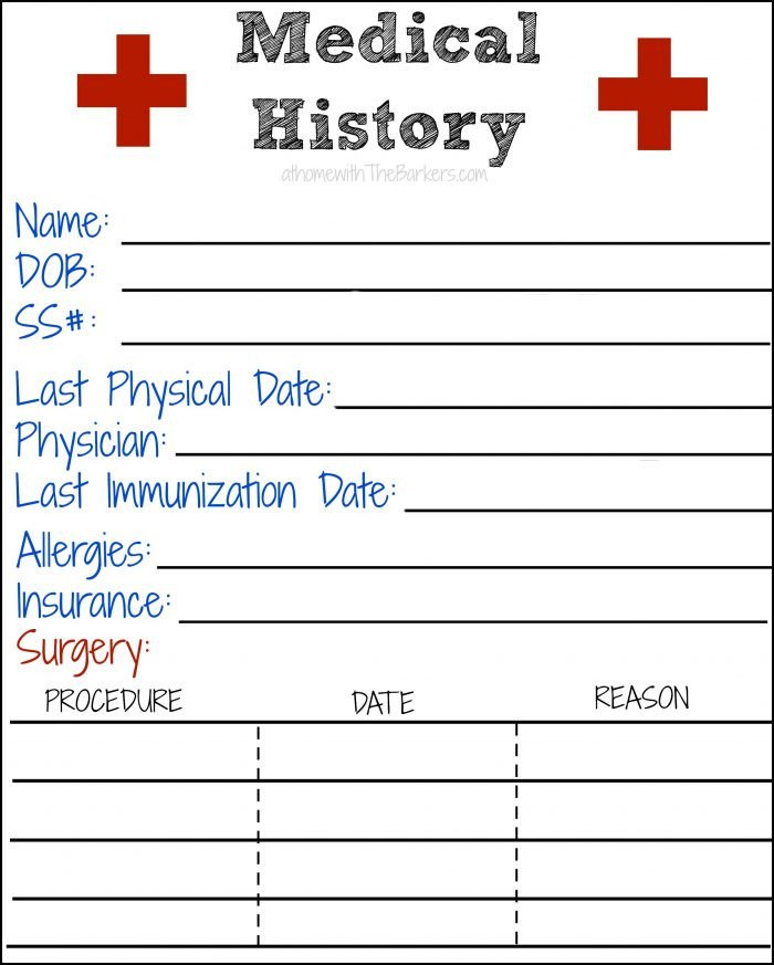 Medical History form Printable Medical History Free Printable at Home with the Barkers