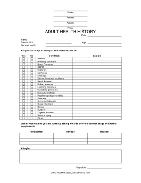 Medical History form Printable Printable Adult Health History form