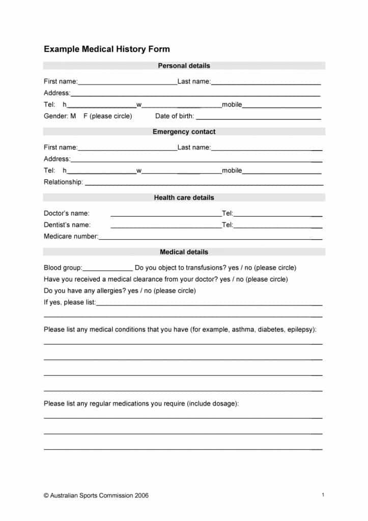 Medical History form Templates 67 Medical History forms [word Pdf] Printable Templates