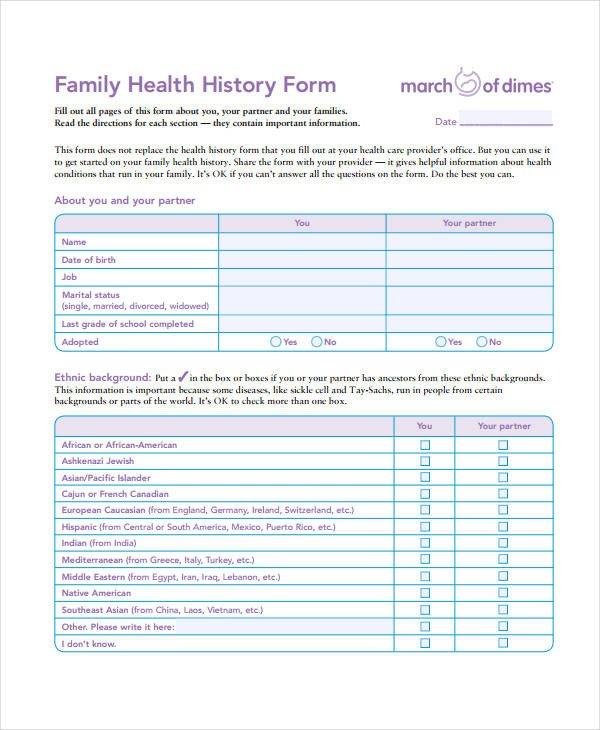 Medical History form Templates Medical History form 9 Free Pdf Documents Download