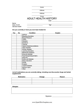Medical History form Templates Medical History form Open Fice Template