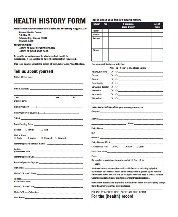 Medical History form Templates Sample Health History Template 9 Free Documents