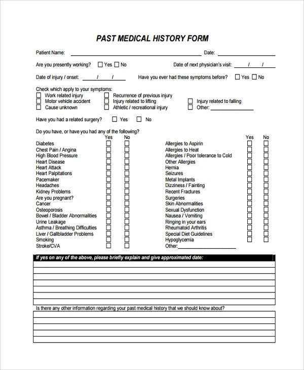 Medical History form Templates Sample Medical History Template 9 Free Documents