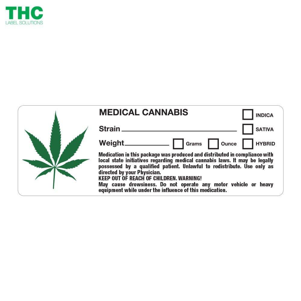 Medical Marijuana Label Template Generic Medical Cannabis Label Leaf Design 5 000 Labels