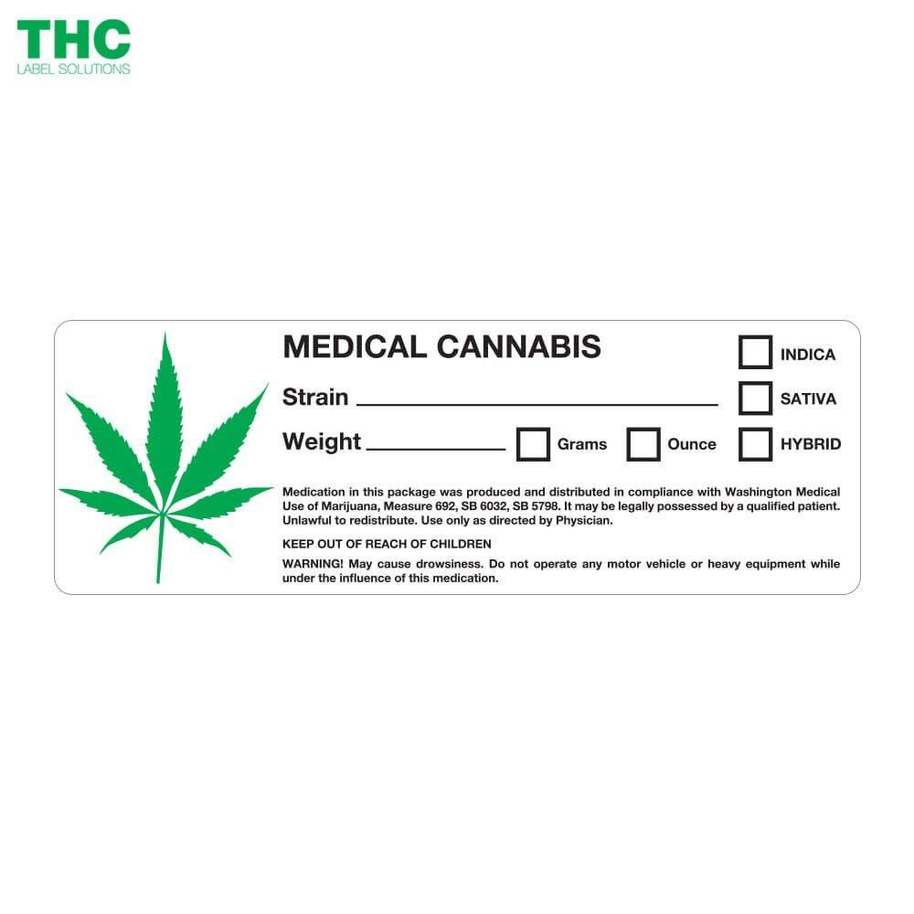 Medical Marijuana Label Template Leaf Design Washington State Medical Cannabis Labels