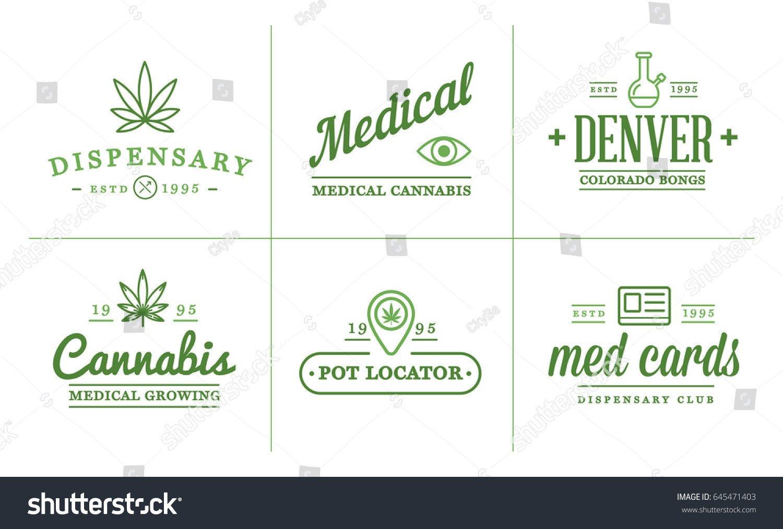 Medical Marijuana Label Template Set Medical Cannabis Marijuana Sign Label Stock Vector