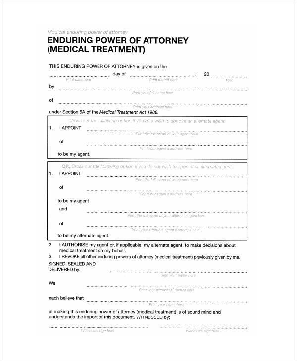 Medical Power Of attorney Template 9 Medical Power attorney forms Free Sample Example