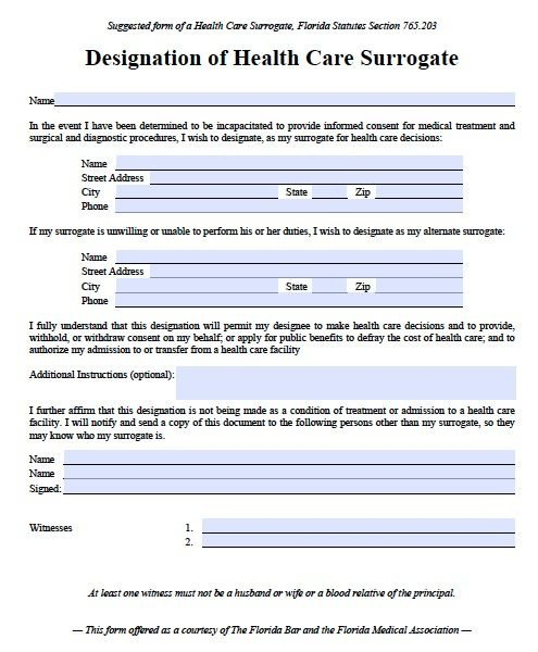 Medical Power Of attorney Template Free Medical Power Of attorney Florida form – Pdf Template