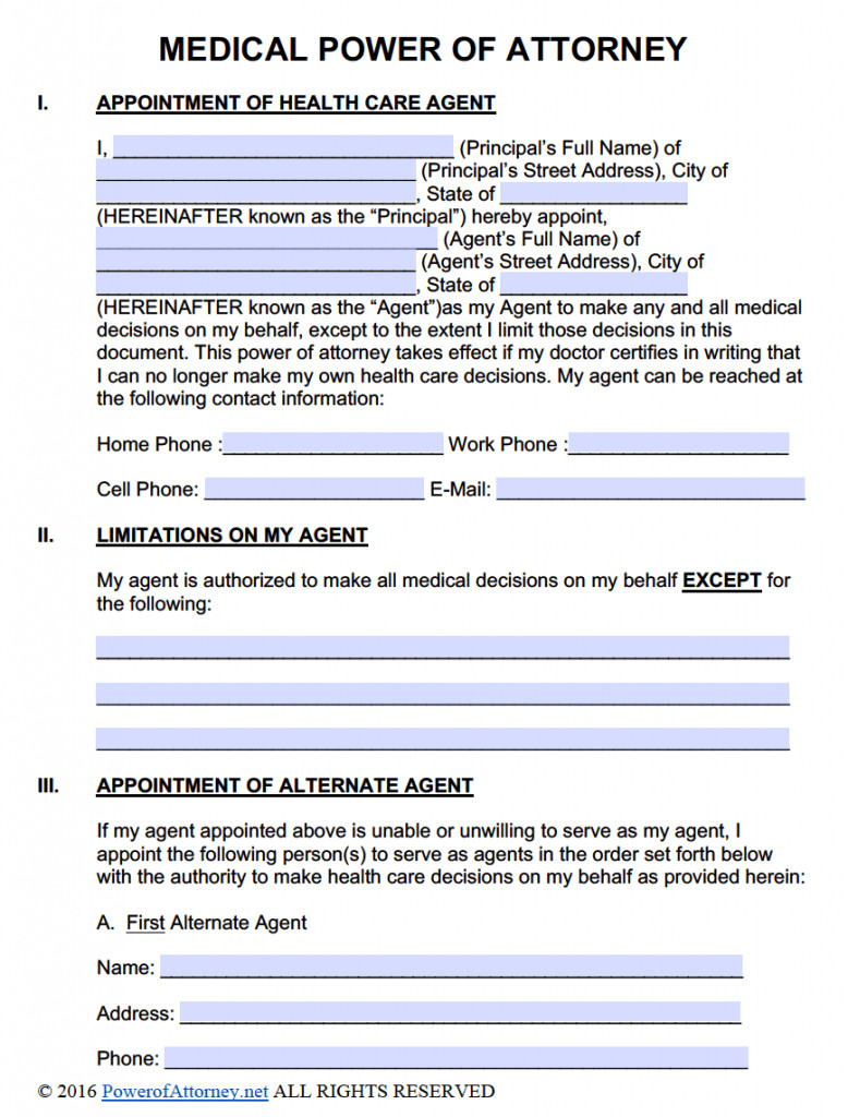 Medical Power Of attorney Template Free Power Of attorney Templates In Fillable Pdf format