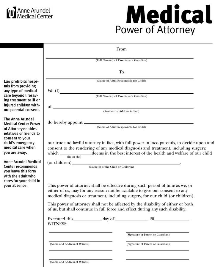 Medical Power Of attorney Template Power Of attorney Medical form – Medical form Templates