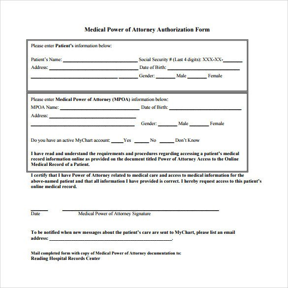 Medical Power Of attorney Template Sample Medical Power Of attorney form 10 Free Documents