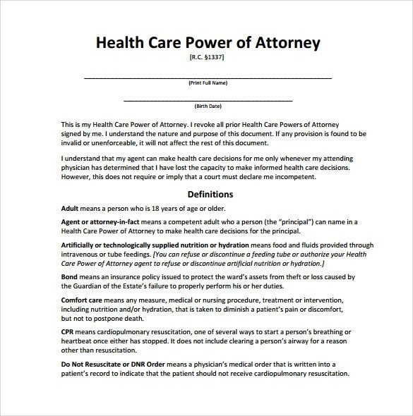 Medical Power Of attorney Template Sample Medical Power Of attorney form 14 Download Free