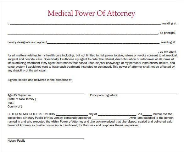 Medical Power Of attorney Template Sample Medical Power Of attorney form 7 Free Documents