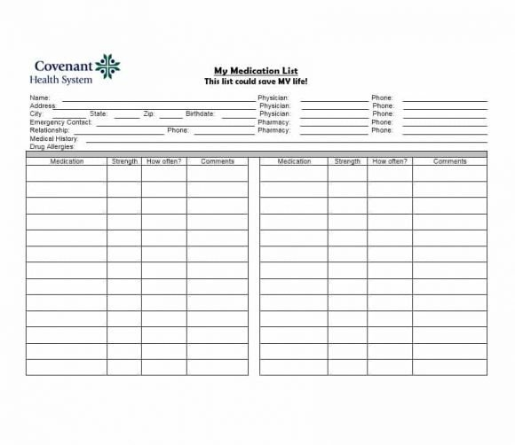 Medical Problem List Template 58 Medication List Templates for Any Patient [word Excel