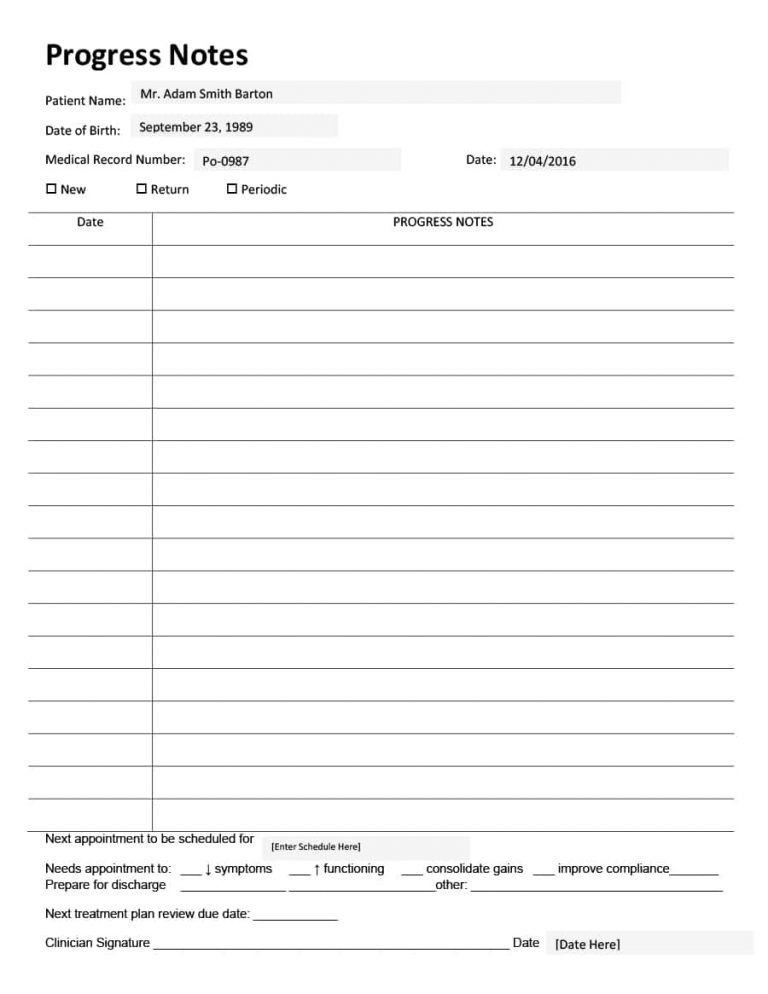 Medical Progress Notes Template 43 Progress Notes Templates [mental Health Psychotherapy