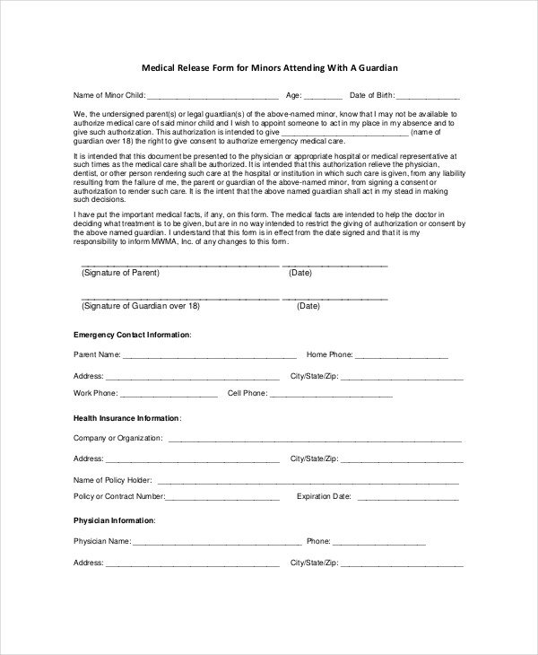 Medical Release form Template 10 Medical Release forms Free Sample Example format