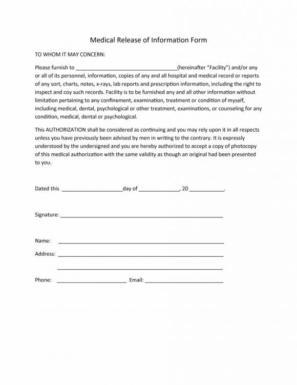 Medical Release form Template 40 Medical Records Release form Release Of Information