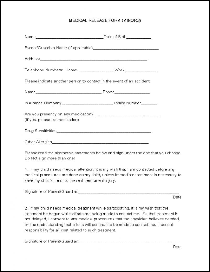 Medical Release form Template Medical forms Tru Dimensions Printing