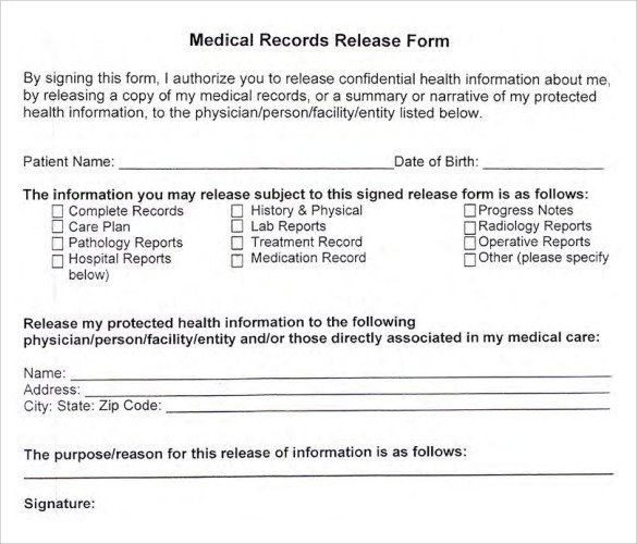 Medical Release form Templates Medical Records Release form 10 Free Samples Examples