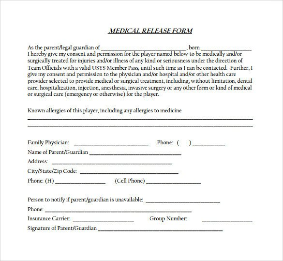 Medical Release form Templates Medical Release form 11 Free Samples Examples formats
