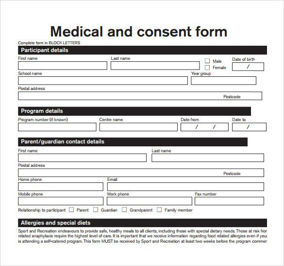Medical Release form Templates Sample Medical Consent form 13 Free Documents In Pdf