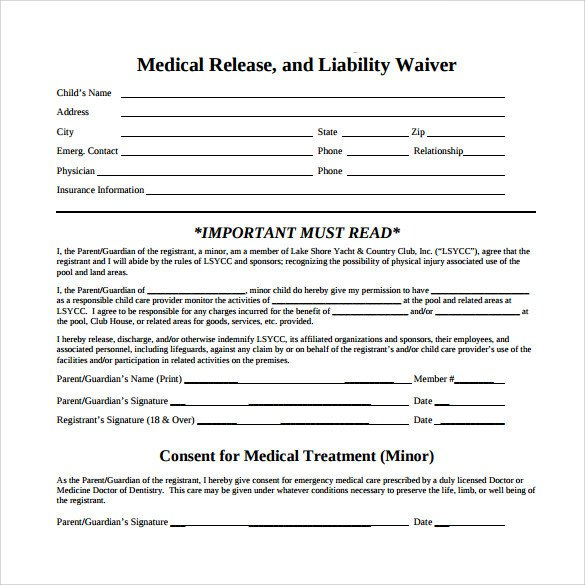 Medical Release forms Template 10 Medical Waiver forms Free Sample Example format